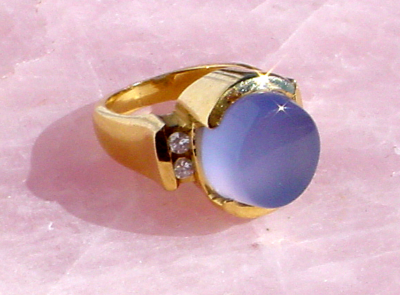 blue chalcedony gold diamond ring