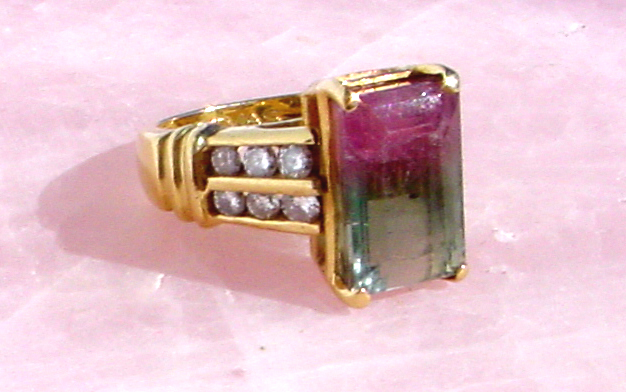 watermelon tourmaline gold diamond ring