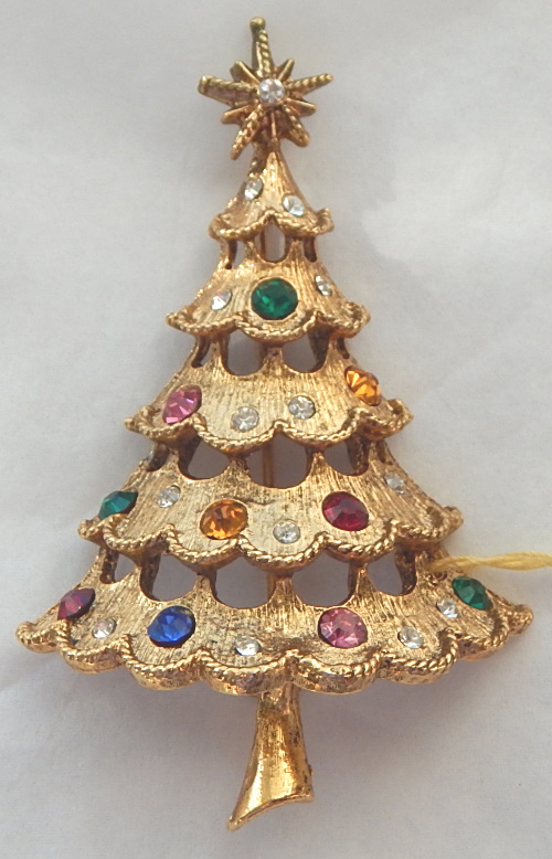 MYLU Signed Christmas Tree Rhinestone Pin