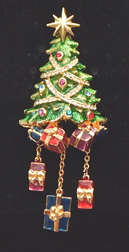 Christopher Radko Rhinestone Christmas tree pin with charms