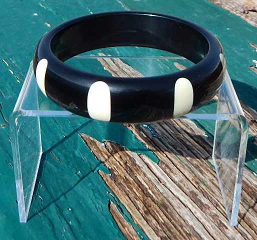 Dombek Black and White Polka Dot Bangle
