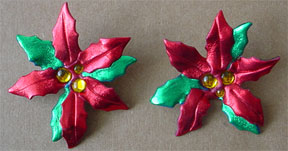 S363 Poinsetia clip earrings