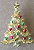 S364 Christmas tree pin with multicolored enamel ornaments.