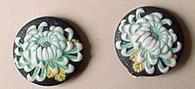 Glass chrysantheum, screw back earrings, Japan