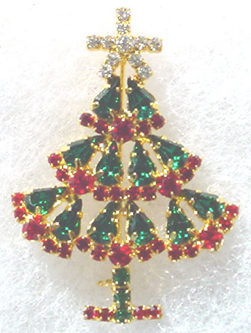 Rhinstone Christmas Tree Pin