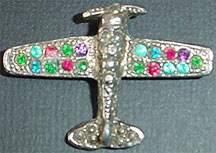 Airplane rhinestone pin