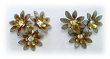 Coro flower clip earrings