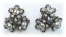 VRBA LTD pearl rhinestone clip earrings