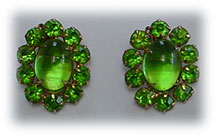 Weiss green glass earrings