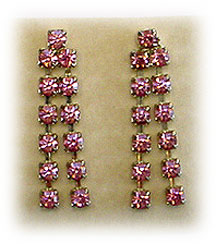 Pink rhinestone dangle earrings