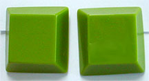 green plastic square clip earrings