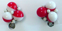 Plastic red and white bead clip earrings