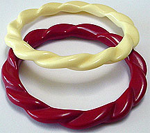 Plastic twisted bangles