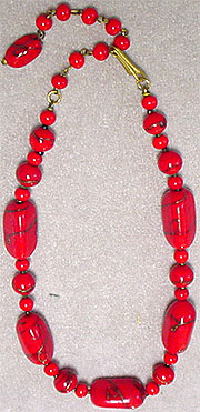 Vintage red glass bead choker