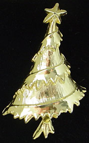 Goldtone Christmas tree pin