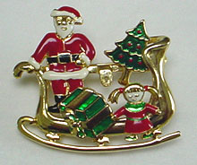 Santa sled Christmas pin